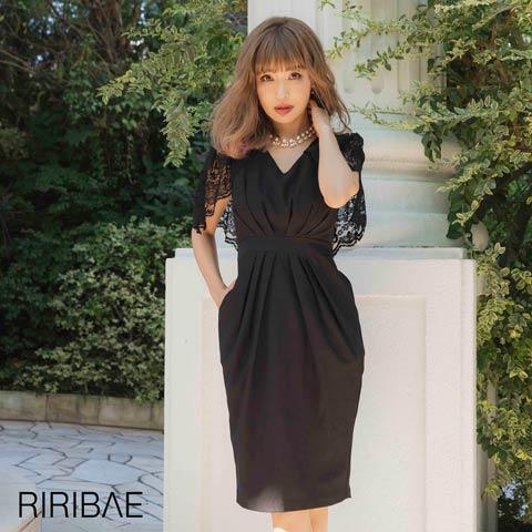 [darial]平子理沙プロデュース『RIRIBAE/リリベ』レースケープ付きハイウエストタックドレス