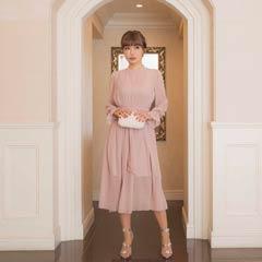 [darial]平子理沙プロデュース『RIRIBAE/リリベ』星柄刺繍シフォンワンピースドレス