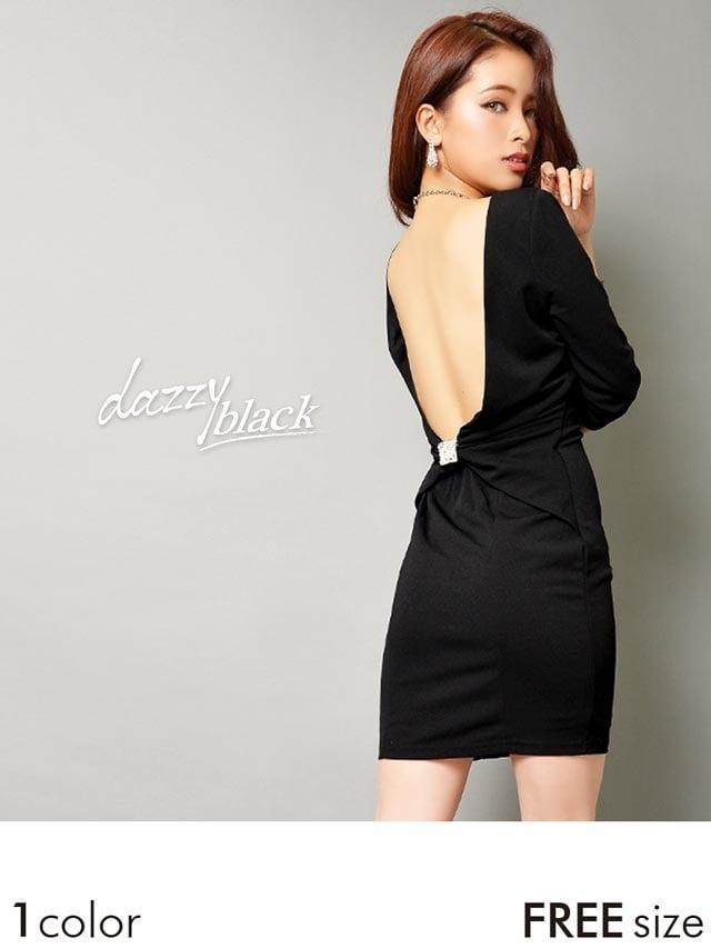 ブローチ付背中開きシンプル七分袖タイトミニドレスの通販はdazzystore(デイジーストア) (aa02174)