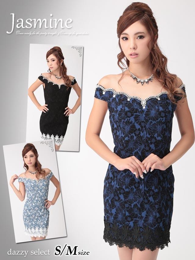 6be38d200906e 花柄ジャガード裾レース付きスカラップオフショルダーミニドレスの通販は ...