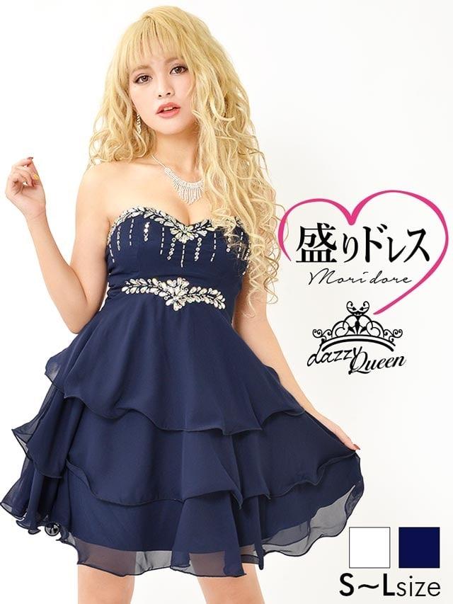 eed4881f9f620  盛りドレス  SMLサイズ オーロラビジュー付きベアティアードフリルAラインミニドレス 3サイズ展開 の通販はdazzystore(デイジーストア)  (ag7d055)