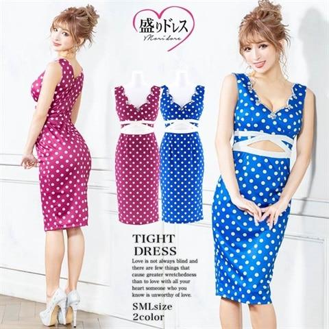 【盛りドレス】[SMLサイズ]ドット柄ウエスト開きタイト膝丈ドレス[3サイズ展開]