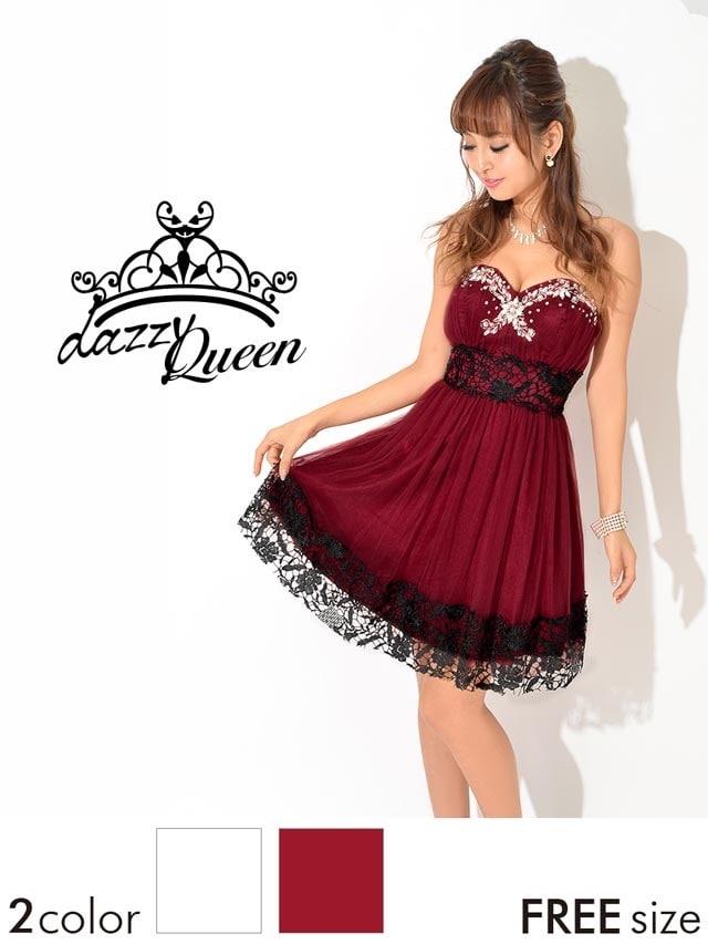 349beeb0e164f オーロラビジュー黒刺繍レースサテン×チュールベアAラインミニドレスの ...
