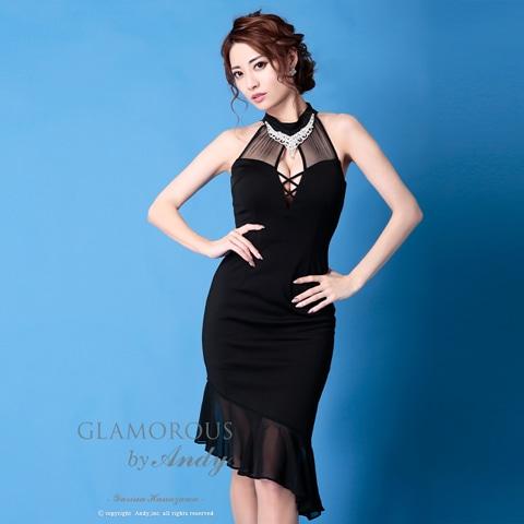 [GLAMOROUS by Andy]ハイネックビジューシースルーフリルアメスリタイトひざ丈ドレス[GMS-V670]