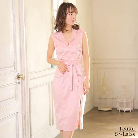 [SMLサイズ]襟付きジョーゼットxボタンタイト膝丈ドレス[3サイズ展開]