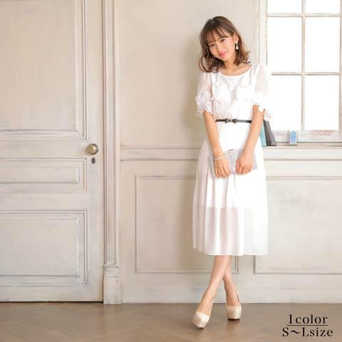 [SMLサイズ]フラワー刺繍ギャザーシフォンAライン膝丈ドレス[3サイズ展開]