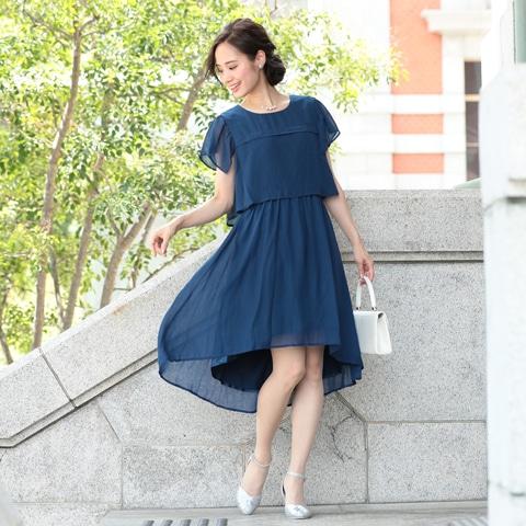 [SMLサイズ]シフォン切り替えスリーブAライン膝丈ドレス[3サイズ展開]