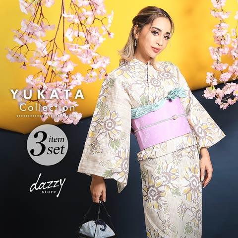 [3点SET] 淡色レトロひまわり柄浴衣 【2020年新作/YUKATA by dazzy】