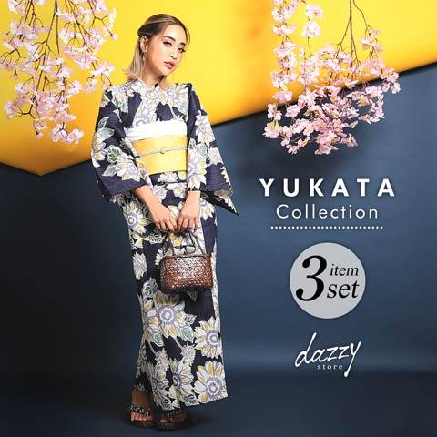 [3点SET] 紺色レトロひまわり柄浴衣 【2020年新作/YUKATA by dazzy】