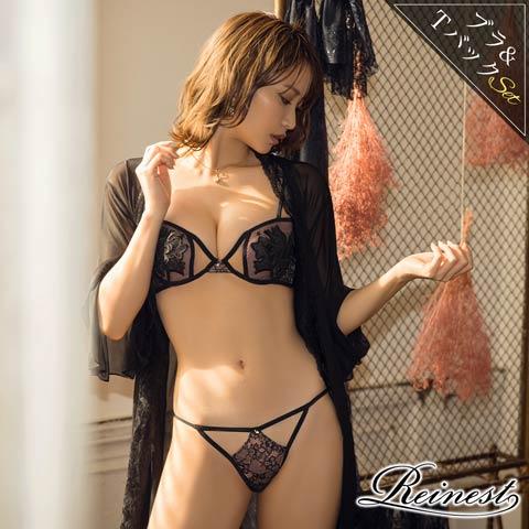 【予約販売/8月16日頃より順次発送】【Reinest】SEXYリリィクロスブラジャー&Tバックショーツ