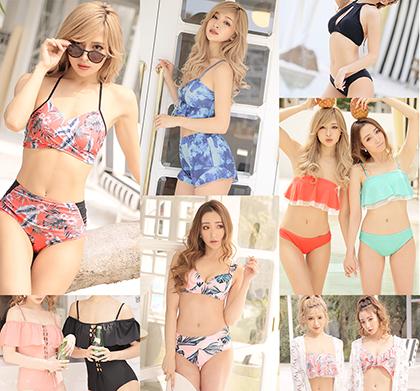 2019年最新トレンドのカラー&デザインの水着を全40種ラインナップ!!1,980円~のお手ごろ価格だから海やプールなどシーンにあわせて選べちゃう!!